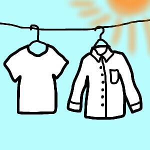 太陽の下で干す洗濯物
