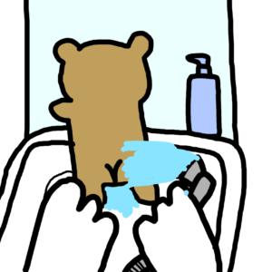 赤ちゃんお尻を洗面台で洗う
