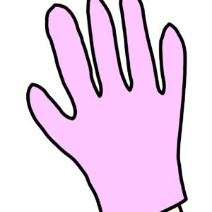 介護トイレ掃除の為にゴム手袋をつける