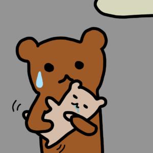 赤ちゃんを抱っこしているたぬ